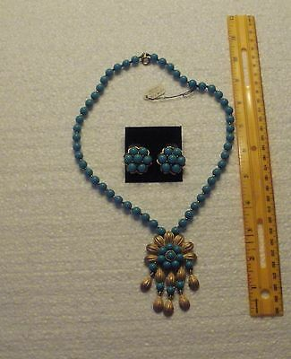 """VTG Exceptional Trifari Jewels of India? Necklace & Earring SET 19"""" Circa 1950's"""