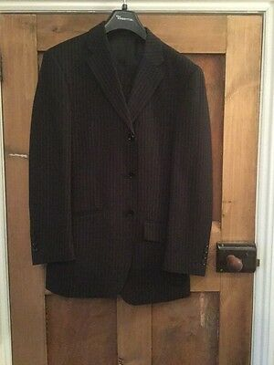 Young Mans The Essential' Black Pin Striped Suit. Size 34S