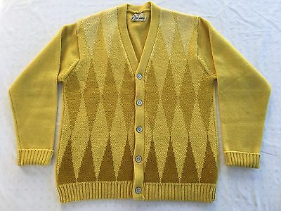 VINTAGE 50s 60s THE BROADWAY WOOL CARDIGAN SWEATER DIAMOND MUSTARD RETRO