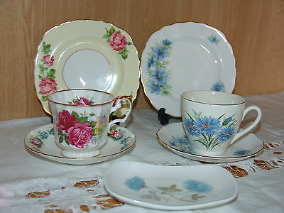 7 pce Mixed English Bone China Tea Cups Saucers Plates Colclough, Shelley TRIOS