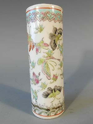 China Chinese Porcelain Famille Rose Butterfly Decor Brush Pot w/ Qianlong Mark