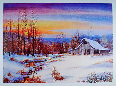 Vintage WINTER SUNSET Poster OLD BARN Art Print SNOW Creek BROWN COUNTY Indiana