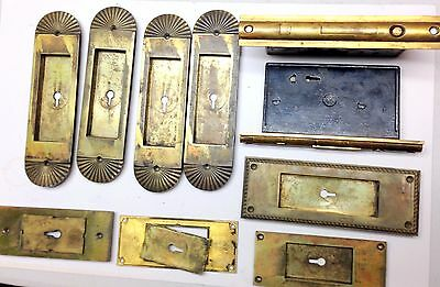 Antique set of  Y&T Yale Towne Door Plates Ornate Solid Brass Hardware Lock