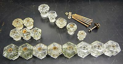 Antique Glass Pulls Knobs – Matched Sets of 8; 3; & 2 +5 Singles Lot of 18 + hdw
