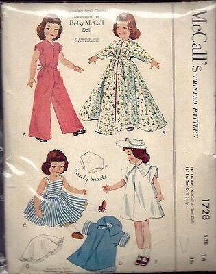 "ORIGINAL McCALL #1728 - 14"" BETSY McCALL DOLL CLOTHES PATTERN c1952"