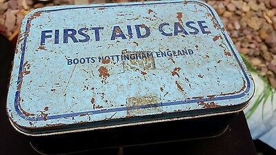 Vintage BOOTS First Aid Tin Case Kit With  Original Contents