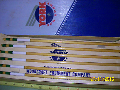 Vintage 12pc set of Matched York Footed Shaft wood arrows, New in Original box