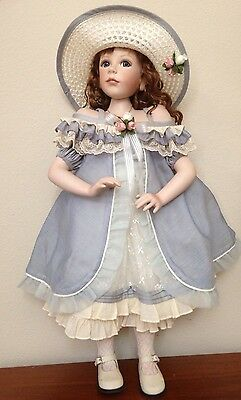"""Gorgeous Geppeddo Porcelain Girl Doll Painted Limited Ed 26"""" Blue Eyes"""
