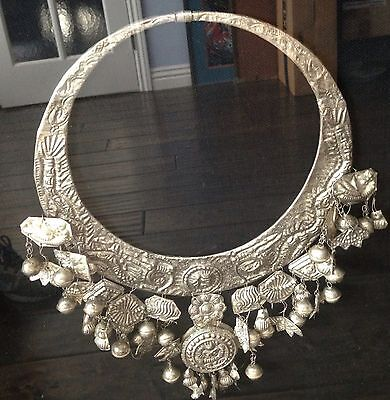 """Chinese Miao Silver Handmade Huge Necklace Framed To Display 28"""""""