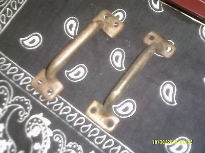"two antique brass door pulls 4"" long"