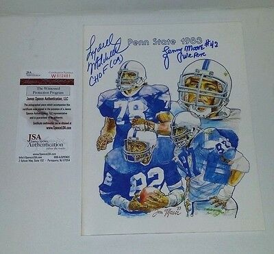 Autographed Lenny Moore & Lydell Mitchell 1983 Penn St Yearbook Media Guide Jsa