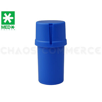 MedTainer Storage Container w/ Built-In Grinder - Solid Blue