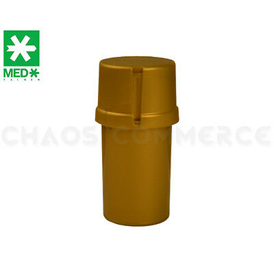 MedTainer Storage Container w/ Built-In Grinder - Solid Gold
