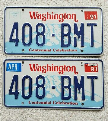 Washington Front/Back License plate **408-BMT**