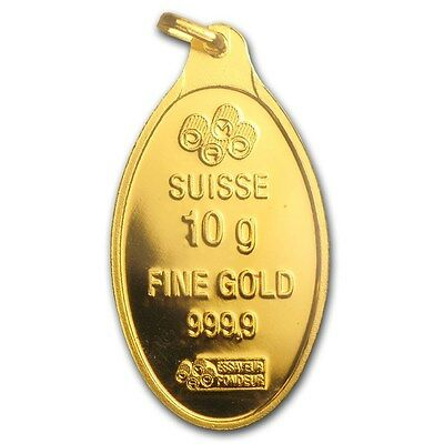 Gold 10 gram Gold Oval - PAMP Suisse (w/Jump ring molded at top)