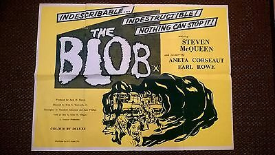 THE BLOB  1958  RE - RELEASE  UK Quad  POSTER . 30 X 40 INCHES . STEVE MCQUEEN.