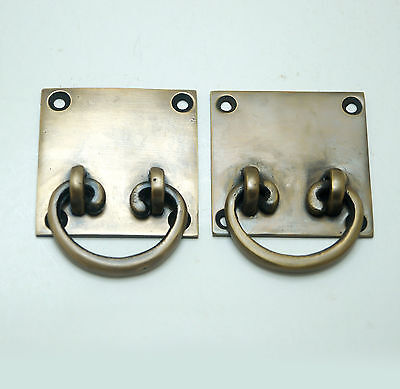 2 pcs Vintage RETRO Western Square Drop Pull Cabinet Drawer Brass Handle Pulls