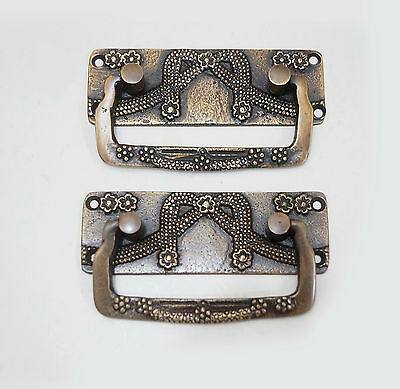 "3.50"" Set of 2 pcs Vintage rectangular Solid Brass Victorian Cabinet Drawer Pull"