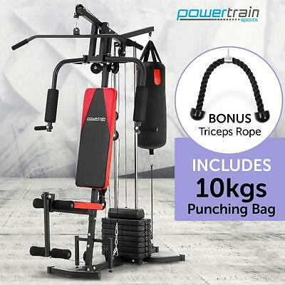 100LB Multi Station Home Gym Fitness Weights Exercise Punching Bag Equipment