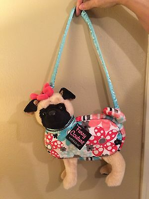 "Furry Couture 9"" PUG Puppy Dog Purse Plush Toy Doll"