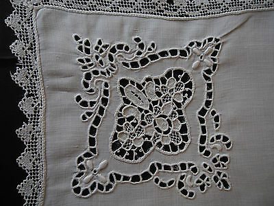 """12 LARGE Antique Madeira Point Venise Hand Embroidery Filet Napkins Cleaned 22"""""""