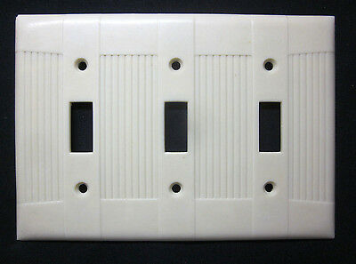 Vintage Eagle Tuxedo Ribbed Ivory Bakelite 3 Gang Switch Plate Cover Art Deco