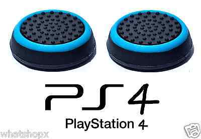 2 X Black Blue Silicone Thumb Stick Grip Cover Cap Sony PS4 Analogue Controller