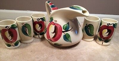 Vintage Purinton Pottery Large Pitcher And 5 Tumblers Apple Pattern