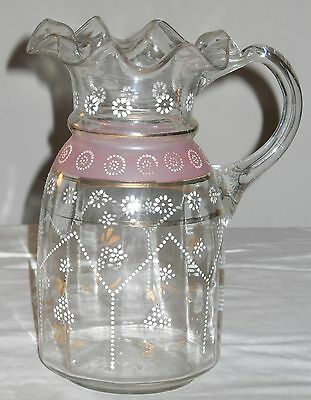 Victorian Hand Blown and Painted Glass Water Pitcher with Ruffle Edge