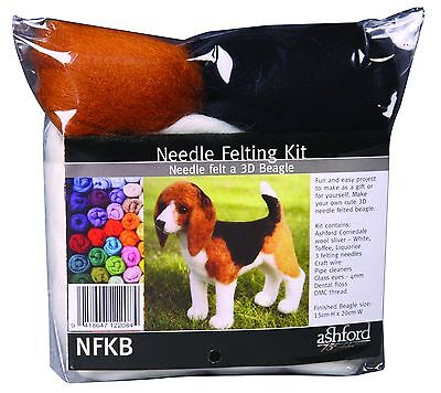 Ashford Needle Felting Kit Beagle (3D) Includes 3 Needles Wool Eyes Etc NFKB