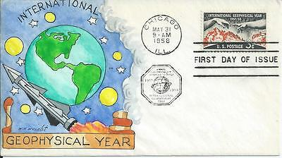 1107  3c IGY ;  W.N. WRIGHT Hand Drawn and Hand Painted SPACE Cachet, Unadd. FDC