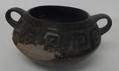 Pre Columbian Peruvian Pottery Handled BOWL Relic Artifact Peru