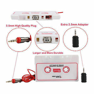 Car SUV Music Audio Cassette Tape Aux Adapter Converter 3.5mm iPod CD Sony MP3