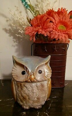 NEW Owl Shaped Ceramic Cookie Jar Storage Container Teal Turquoise Blue NEW!