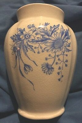 Antique Royal Ironstone China Warranted 1880-1886 Vase White & Blue Floral Mint
