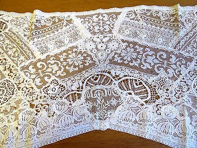 Antique Handmade Lace Runner Table Dresser Scarf Hand Crochet Normandy Style