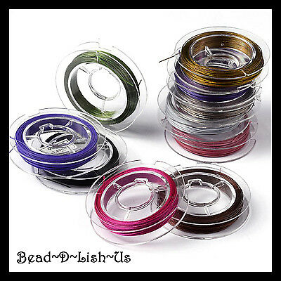 10 Rolls x 10 metres 0.45mm TIGER TAIL WIRE Beading jewellery DIY Mixed Colours