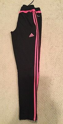 Euc Adidas Youth Soccer Training Pants Black Pink Sz M Zip Ankles Climacool