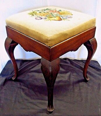 Beautiful Antique French Cabriolet Solid Mahogany Embroidered Ottoman Footstool