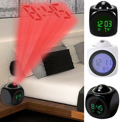 Digital LCD Voice Talking LED Projection Snooze Alarm Clock Backlight Time New