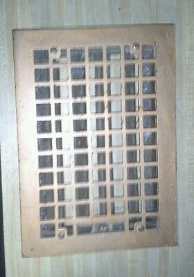 "Vintage Cast Iron Waffle Pattern Air Return Floor Grate 13-5/8"" x 9-7/8"""
