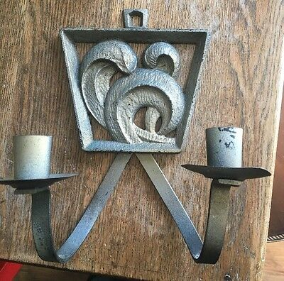 Vtg Cast Metal Modernist Deco 2  Candle Holder Wall Sconce