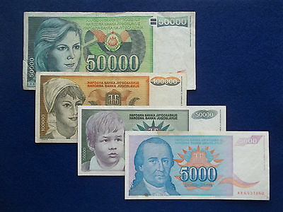 4 PIECE CIRCULATED WORLD PAPER MONEY LOT from YUGOSLAVIA #1