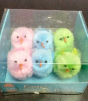 "Set of 6 Medium PASTEL Blue Green Pink 1 1/2"" Chenille Chicks NIB"