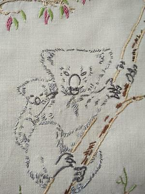 Cheeky Koala & Baby ~ Red Flowering Gum ~ Unique Hand Embroidered Panel