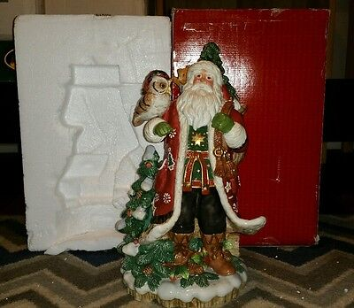 "Fitz & Floyd Christmas Lodge Santa 18"" Centerpiece Snowy Owl Bunny BOX Tree"