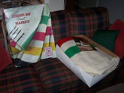 Hudson's Bay 6 Six Point Wool Blanket Vintage 1980's New/ex Striped Queen Bed