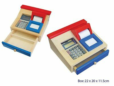 Wooden Toy Cash Register With Solar Power Calculator and Paper Roll