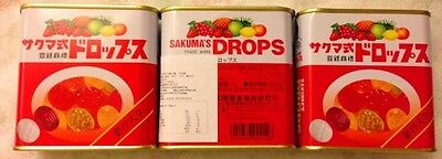 New Sakuma's Drops S-15 (75gram x 3 Cans) Fruity Hard Candy f/s Postage Japan