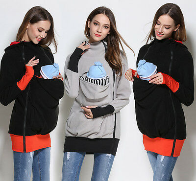 Baby Carrier Kangaroo Hoodies Jacket Maternity Outerwear Coat for Pregnant Women
